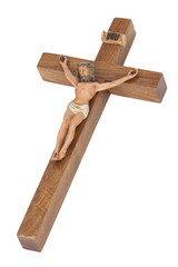 Wooden crucifix showing Jesus hanging on the cross