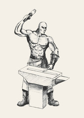 Sketch illustration of a blacksmith