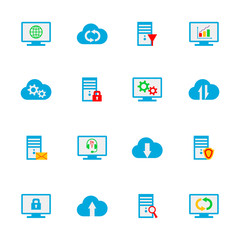 Hosting, network and cloud computing icons