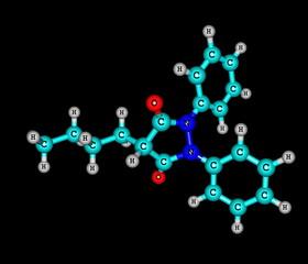 Phenylbutazone molecule isolated on black