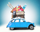 Winter travel, Retro car with Luggage