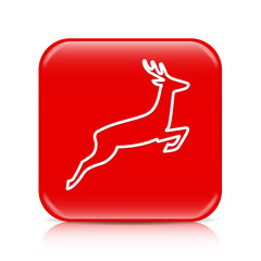 Red deer outline button, icon