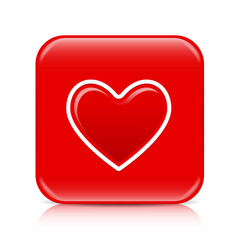Red heart button, icon