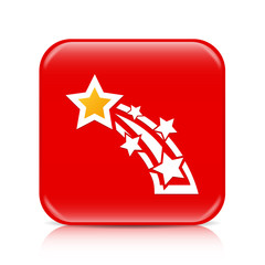 Red shooting star button, icon