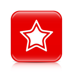 Red star button, icon