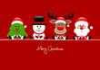 Christmas Tree, Snowman, Rudolph & Santa Gift Red