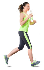 Woman Running on White