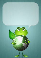 Funny frog with green world