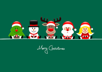 Card Tree, Snowman, Rudolph, Santa & Angel Gift Green