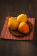 Ripe yellow pears on a plate