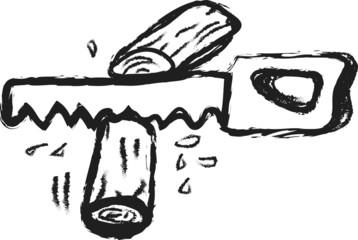 doodle handsaw and log