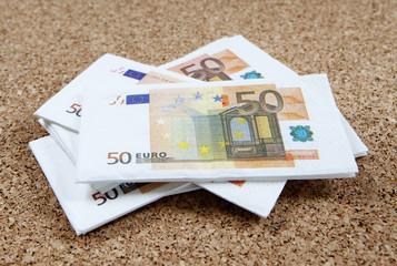 billets de 50 euros empilés