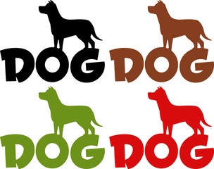 Dog Silhouette Over Text In Different Colors. Collection Set