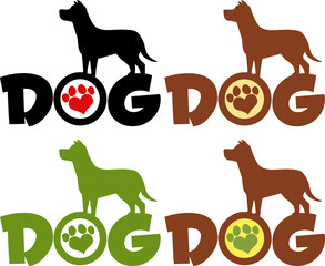 Dog Silhouette Over Text With Paw Print Colors. Collection