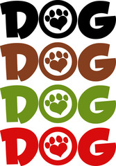 Dog Text With Love Paw Print In Different Colors. Collection Set