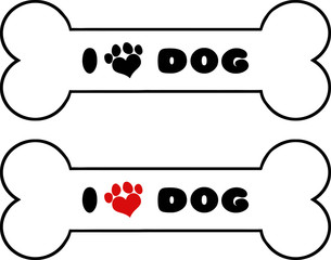 Dog Bone With Text With Love Paw Print. Collection Set