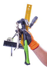 set of working tools in male hand