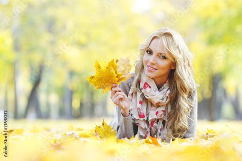 canvas print picture Woman in autumn park