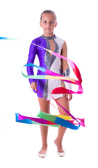 Girl gymnast with ribbon