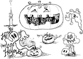 Halloween black sketched graphic elements