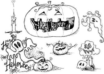 Halloween black sketched graphic elements