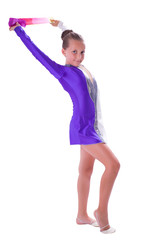 girl gymnast standing with ribbon