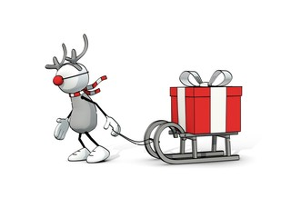 little sketchy man - reindeer pulling a gift box on a sledge