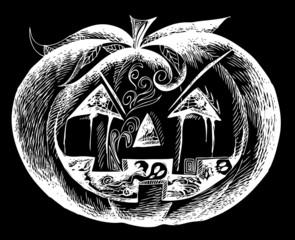 White Halloween scary pumpkin on black background