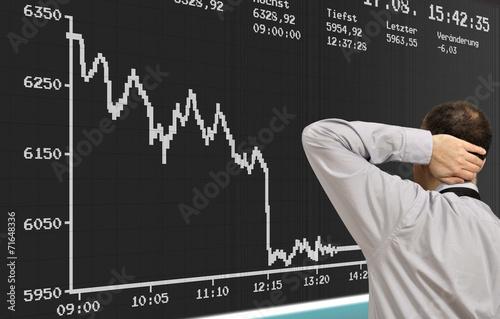 Leinwanddruck Bild Börsencrash an der Börse