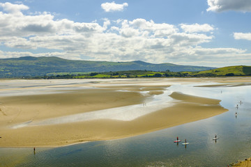 Paddle Boarders on the estuary. Portmeirion