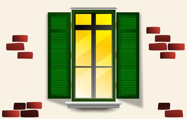 finestra, finestra aperta, stanza, panorama