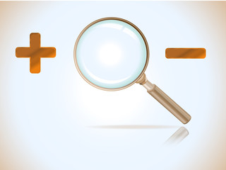 magnifying glass with plus and minus sign