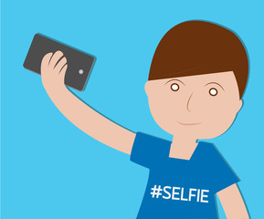 Boy Taking Selfie on blue background