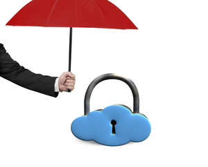 red umbrella protect sky blue cloud lock