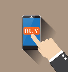 Hand Touching Smart Phone With Buy Button vector illustration