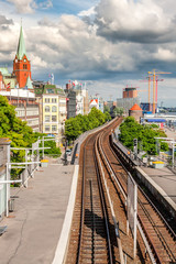 View of Hamburg with the railway