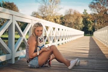 Blonde girl and chihuahua