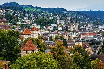 Aerial cityscape of Lucerne from City Wall, Lucerne, Switzerland