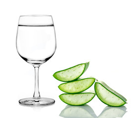 green aloe vera with water isolated over white