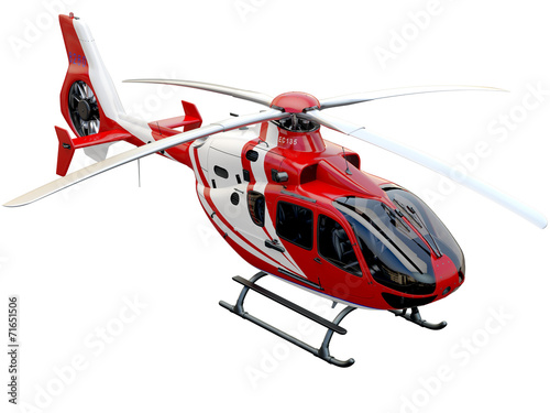 Red helicopter on white background - 71651506
