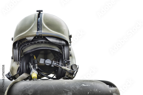 Papiers peints Hélicoptère Helicopter pilot helmet isolated on white