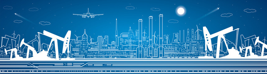 Petroleum panorama, industrial landscape, power plant, vector