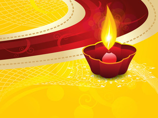 abstract artistic diwali on yellow background
