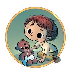 niño jugando con un peluche