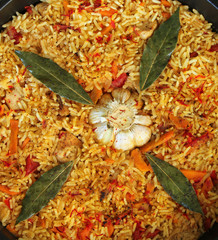 Beautiful and tasty dish of rice, meat and vegetables
