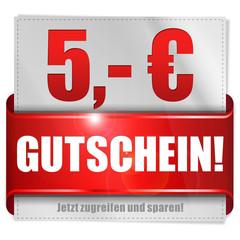 Fünf Euro Gutschein! Button, Icon