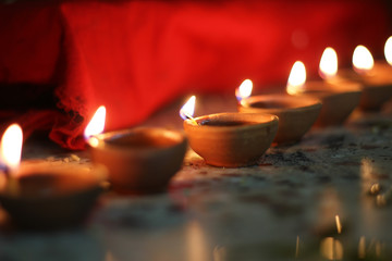 traditional oil lamps on diwali