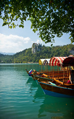 boats on Lake Bled vertical