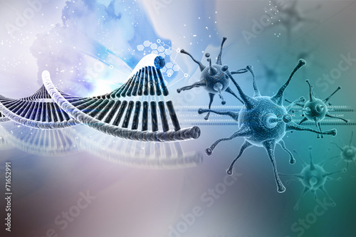 canvas print picture Virus with dna stucture