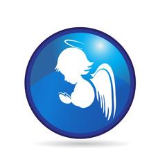 Angel button logo vector